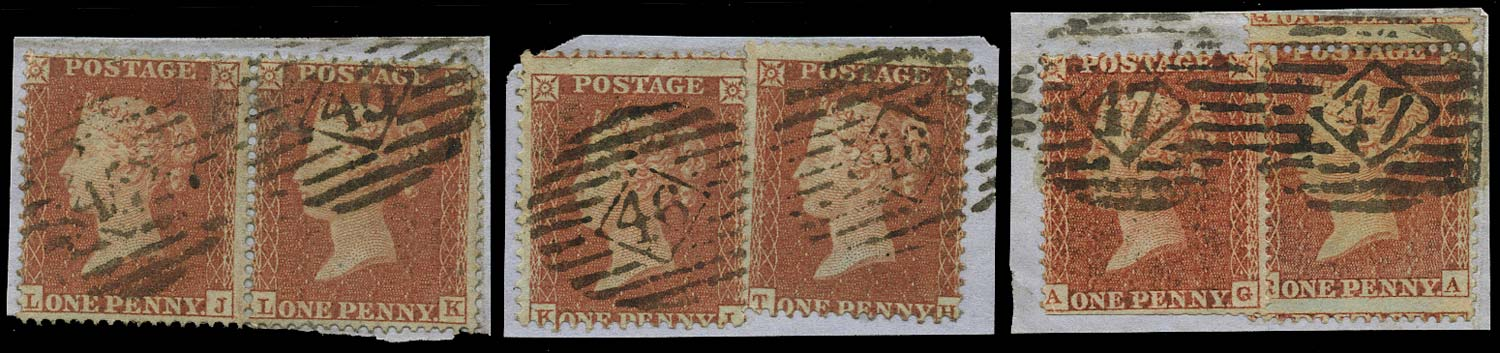 GB 1854  SG17, 29 Used set of three double numerals