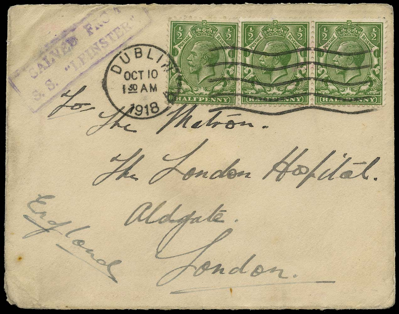 GB 1918  SG351 Cover maritime wreckage mail, SS Leinster