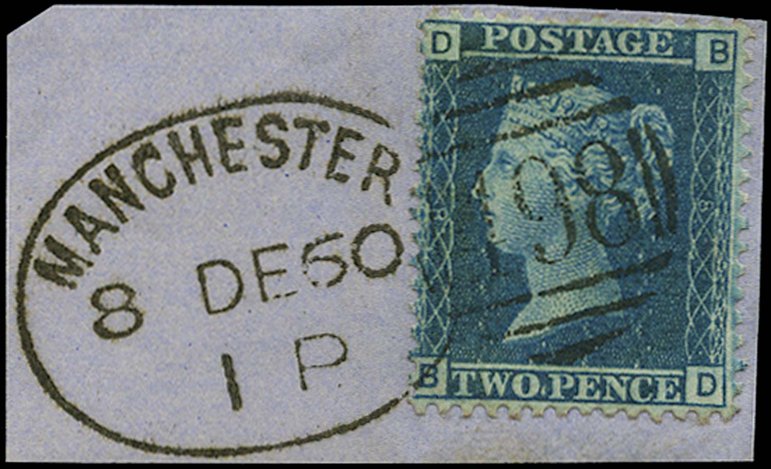 GB 1858  SG45 Pl.8 Used - Manchester spoon duplex