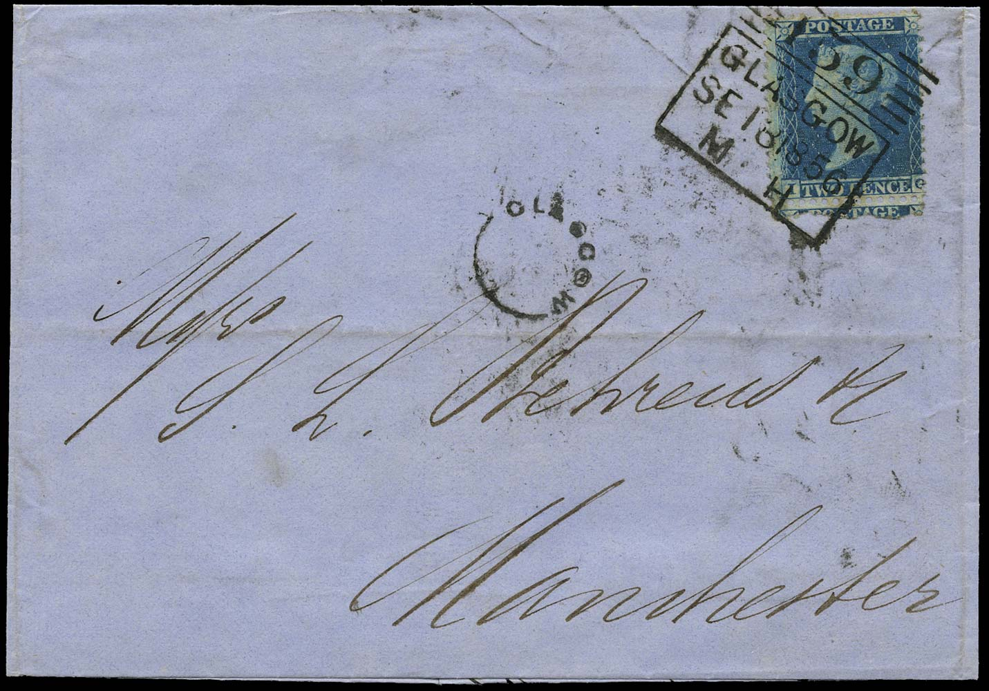 GB 1856  SG23a Pl.5 Cover Madeleine Smith duplex