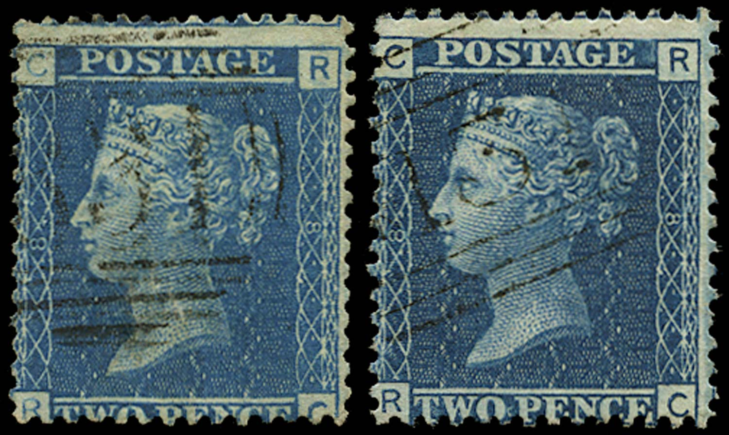 GB 1858  SG45 Pl.8 Used - States 2 and 3 matched pair