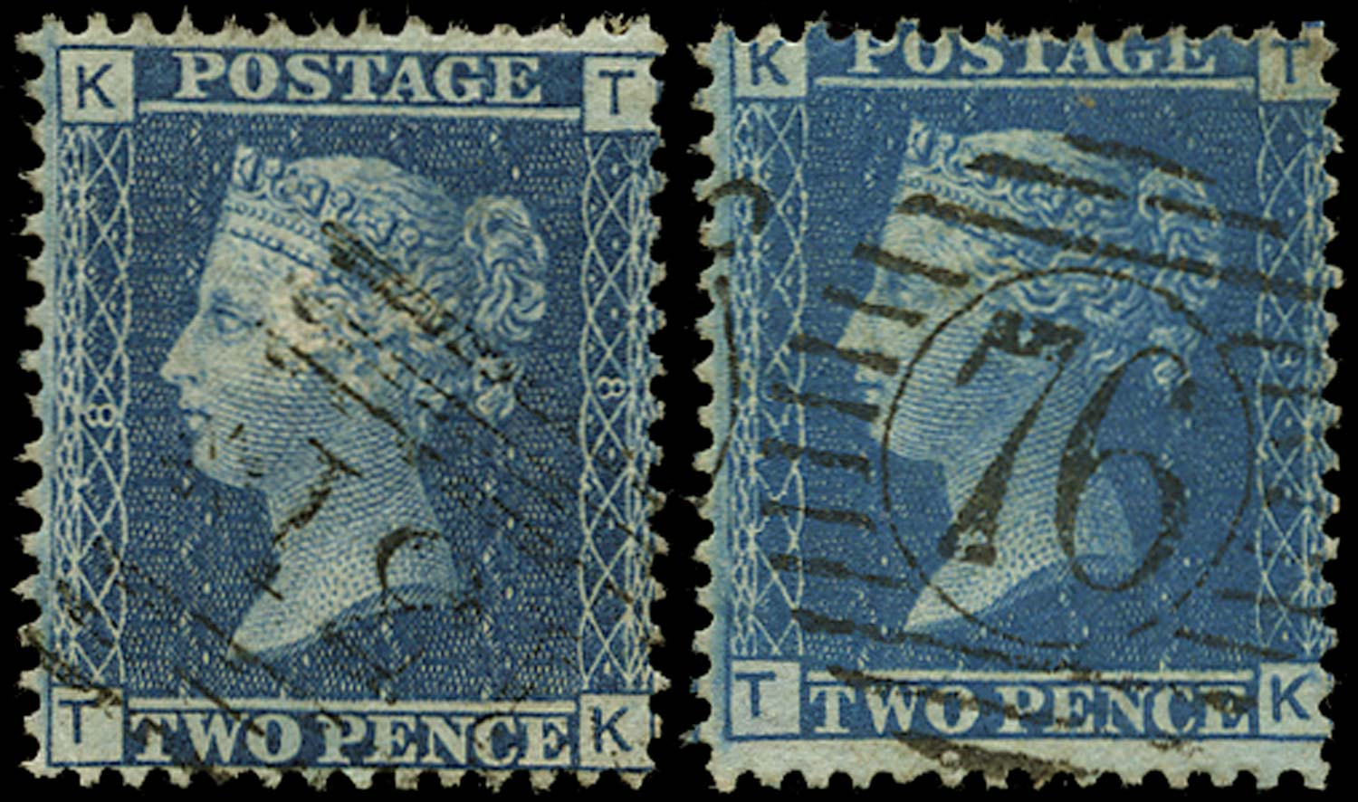 GB 1858  SG45 Pl.8 Used - States 1 and 2 matched pair