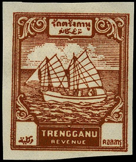 MALAYA THAI OCC 1944 Revenue Trengganu $3 red-brown proof