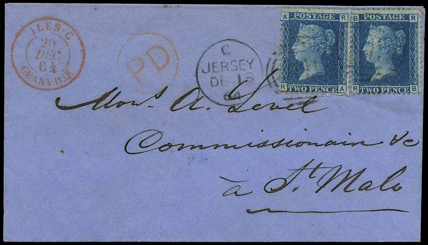 GB 1864  SG45 Pl.9 Cover Jersey to St Malo, Iles C datestamp