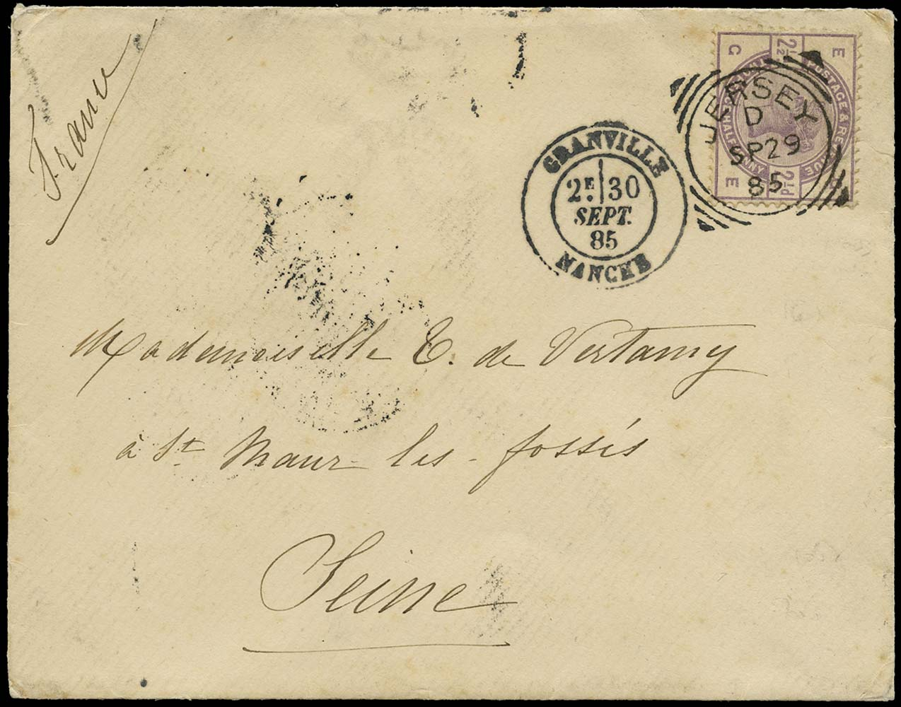 GB 1885  SG190 Cover Jersey to Seine