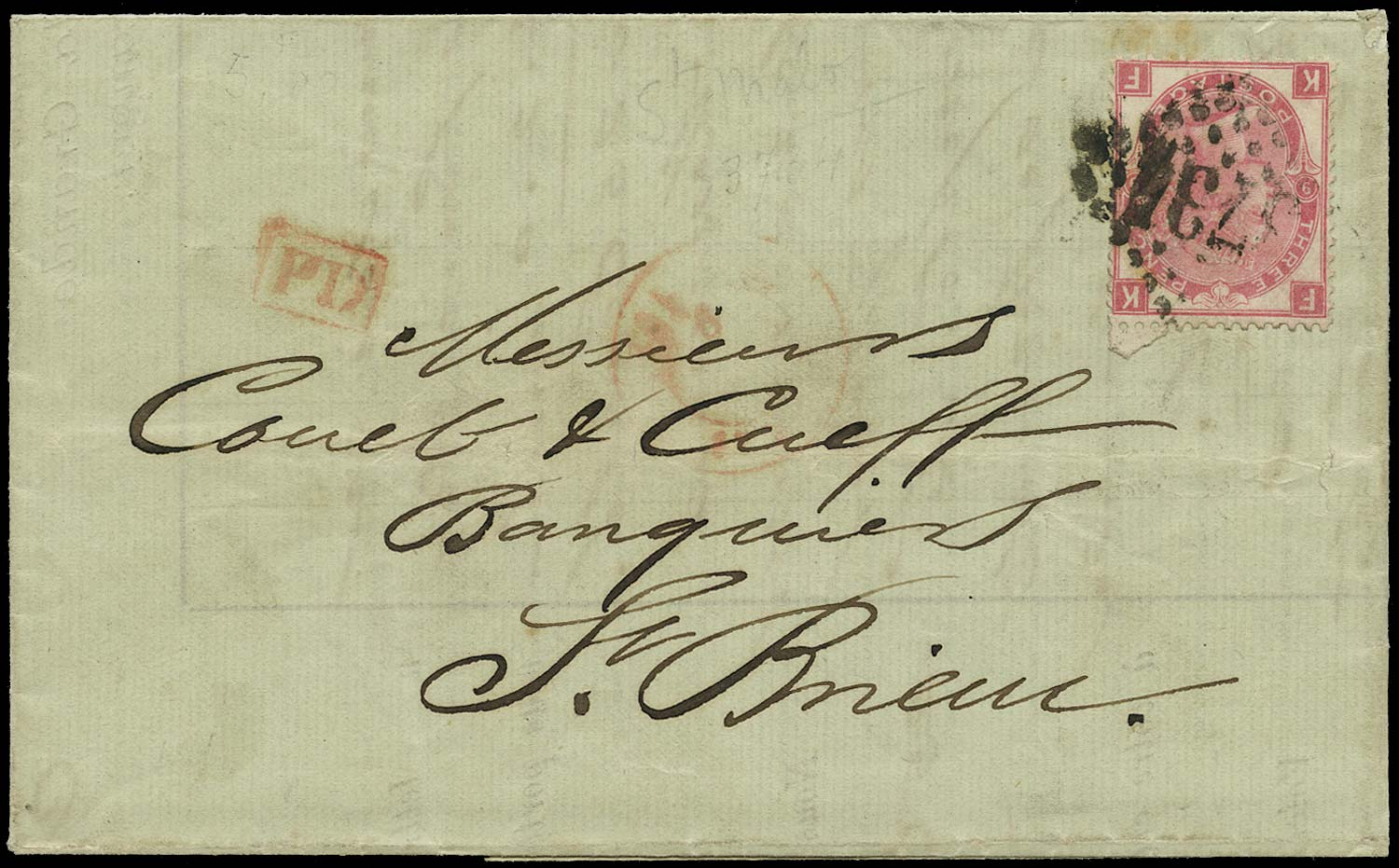 GB 1873  SG103 Pl.9 Cover Jersey to St. Brieuc