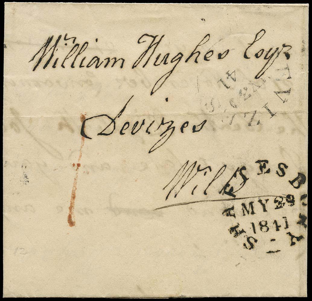 GB 1841 Pre-Stamp Shaftesbury Uniform Penny Post '1D' handstamp