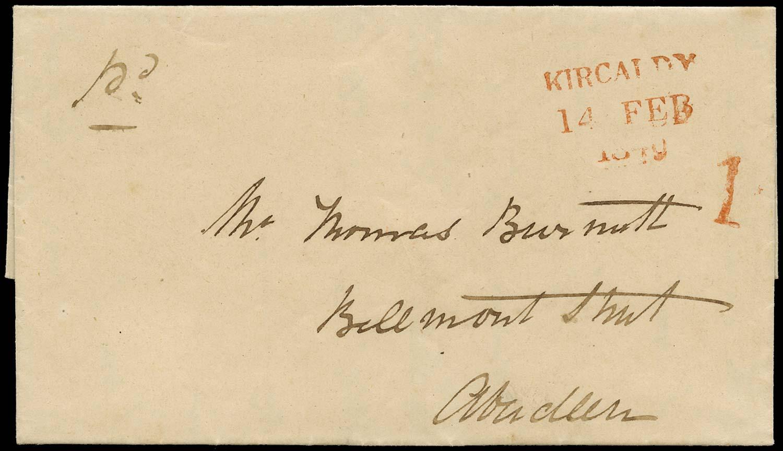 GB 1840 Pre-Stamp Kirkcaldy Uniform Penny Post handstruck