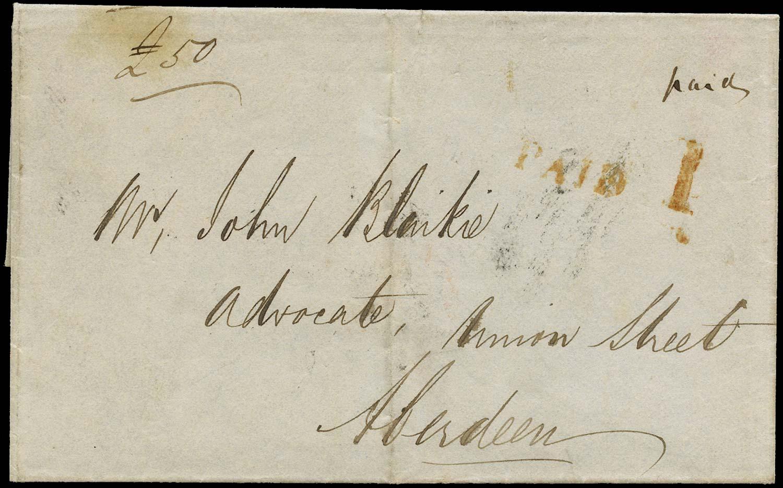 GB 1840 Pre-Stamp Uniform Penny Post Auchenblae to Aberdeen