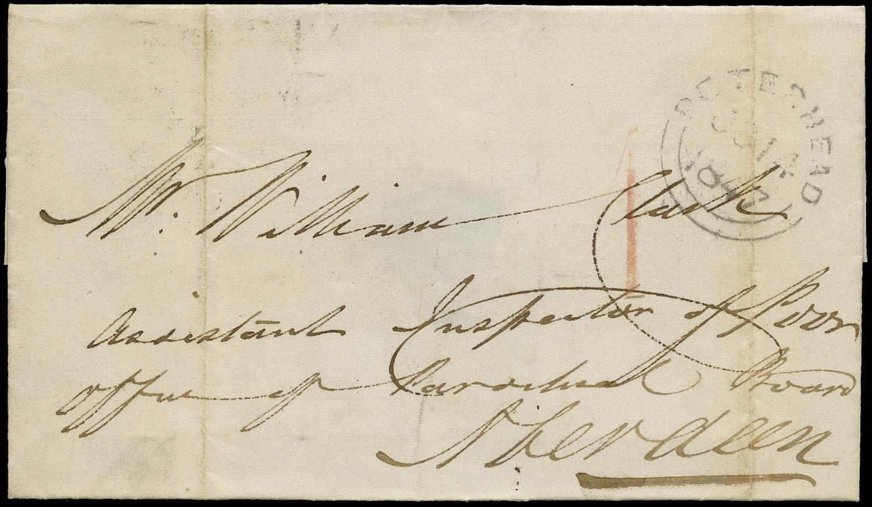 GB 1847 Pre-Stamp Uniform Penny Post Peterhead