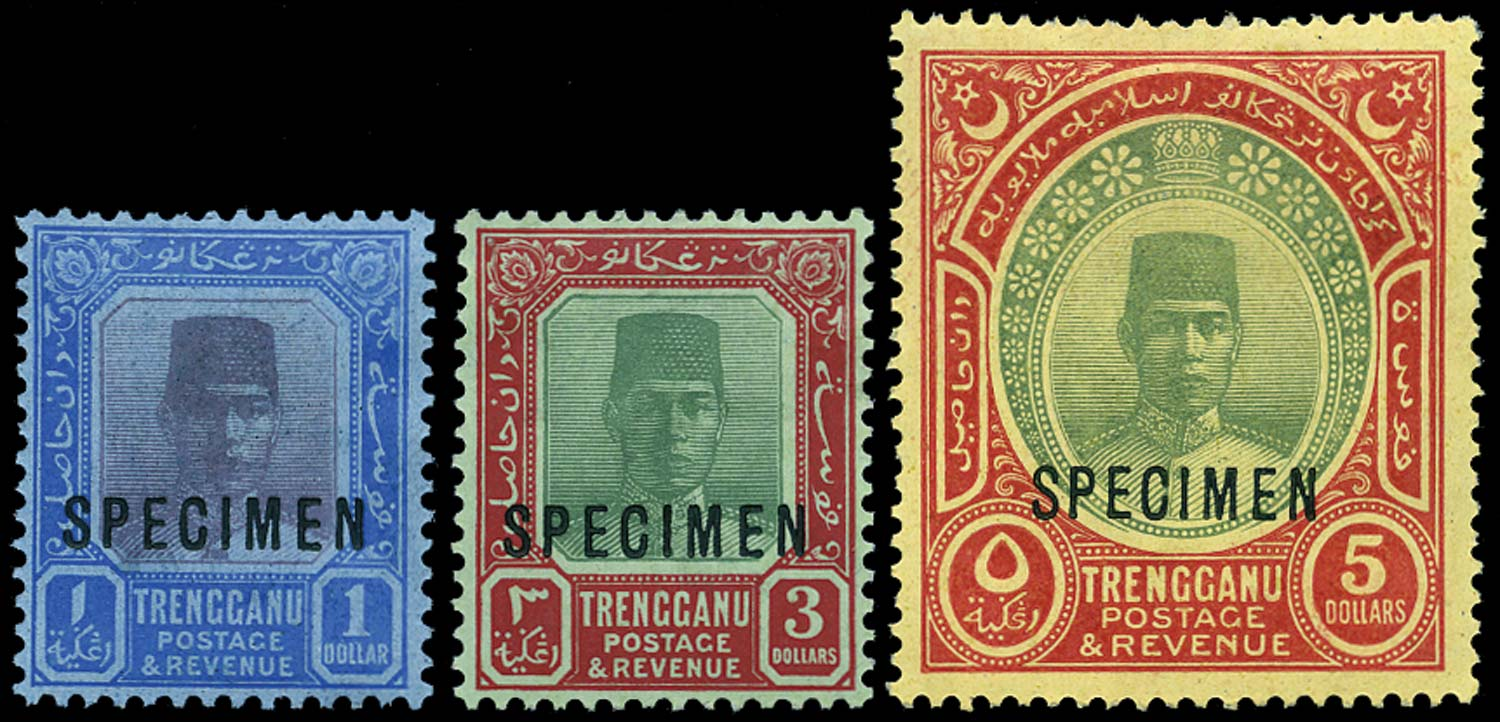 MALAYA - TRENGGANU 1921  SG23s/25s Specimen watermark MCA set of 3 to $5