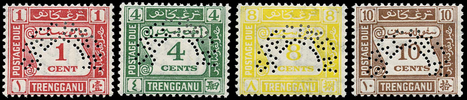 MALAYA - TRENGGANU 1937  SGD1s/4s Specimen Postage Due set of 4 to 10c