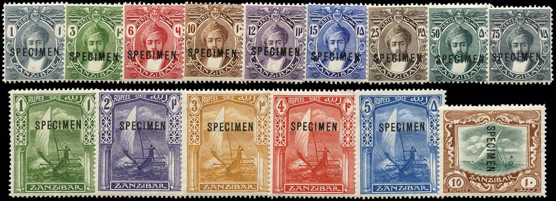 ZANZIBAR 1913  SG246s/60as Specimen 1c, 75c with constant variety Broken M