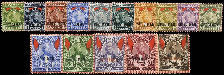 ZANZIBAR 1896  SG156s/74s Specimen
