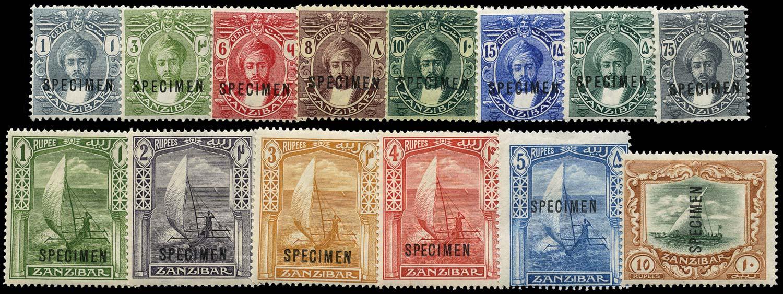 ZANZIBAR 1914  SG261s/75s Specimen watermark MCA set of 14 to 10r