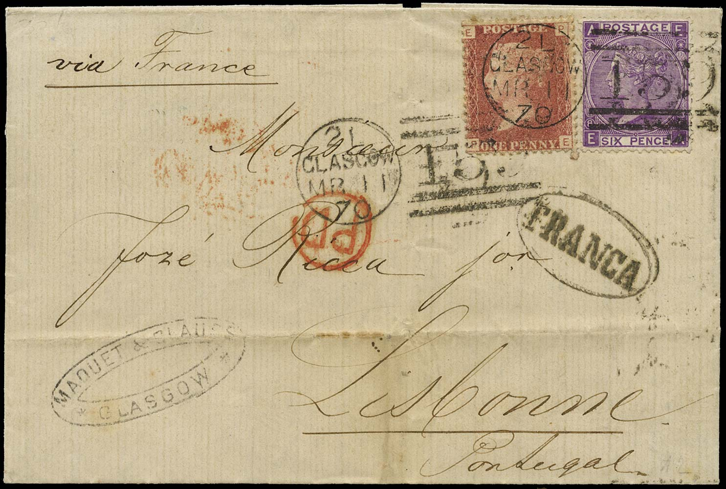GB 1870  SG43, 109 Cover Glasgow to Lisbon