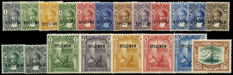 ZANZIBAR 1921  SG276s/95s Specimen Script watermark set of 20 to 10r