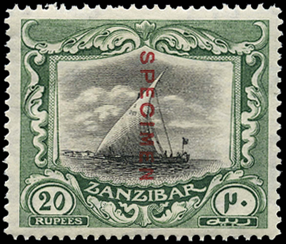 ZANZIBAR 1921  SG296s Specimen Script watermark 20r Dhow