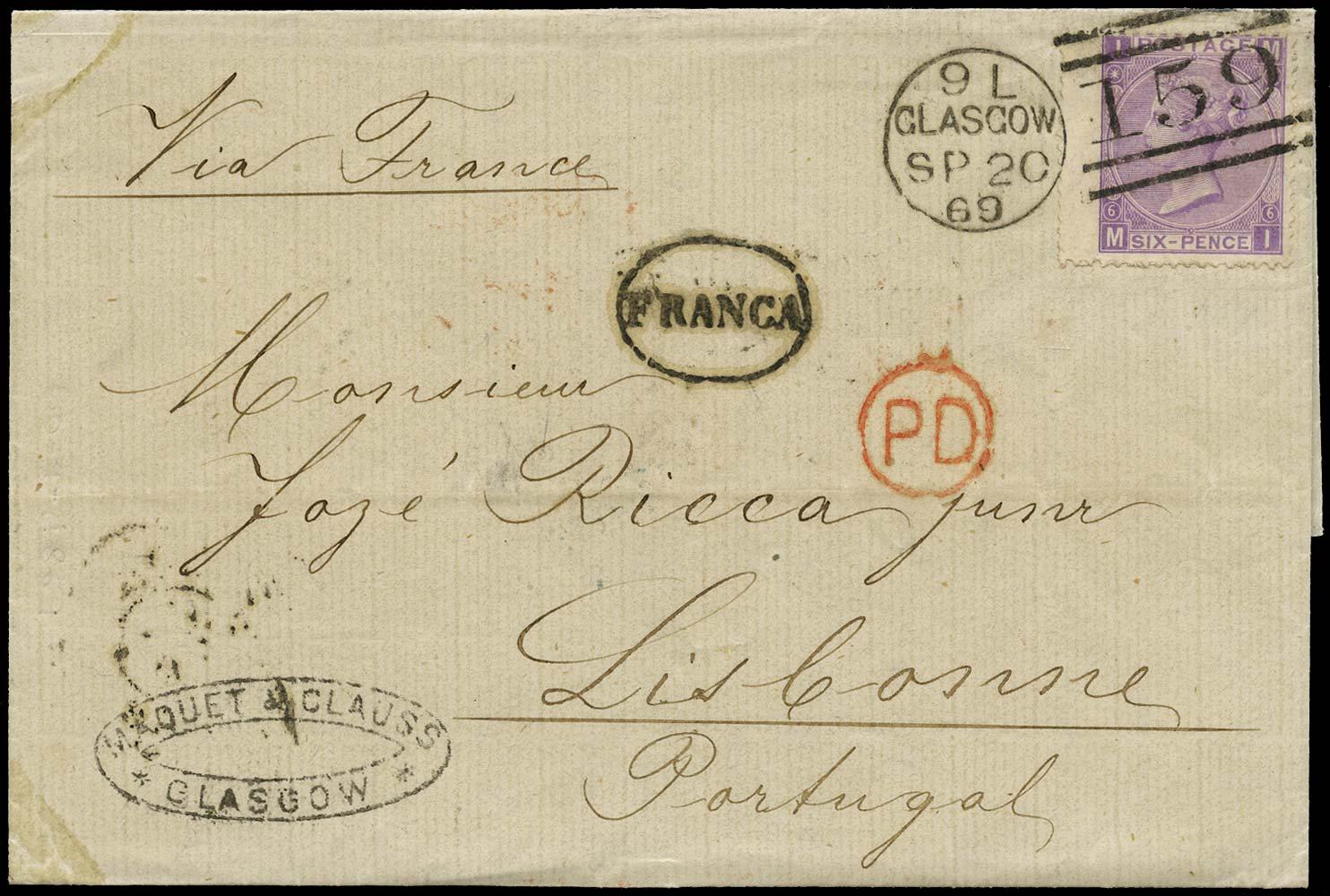GB 1869  SG104 Pl.6 Cover Glasgow to Lisbon