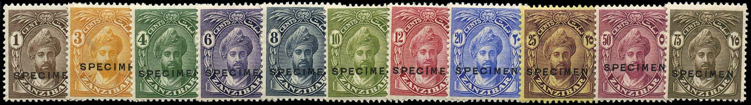 ZANZIBAR 1926  SG299s/309s Specimen set of 11 to 75c