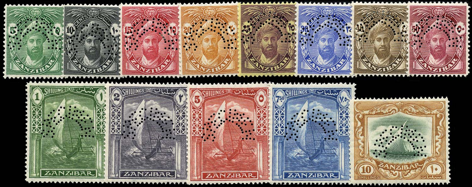 ZANZIBAR 1936  SG310s/22s Specimen New Currency set of 13 to 10s