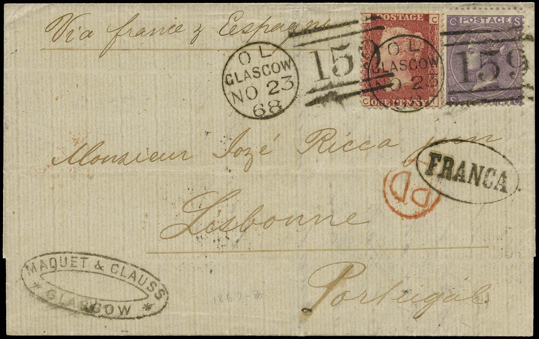 GB 1868  SG43, 97 Cover Glasgow to Lisbon