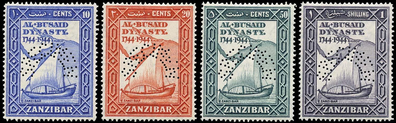 ZANZIBAR 1944  SG327s/30s Specimen Bicentenary of Al Busaid Dynasty set of 4