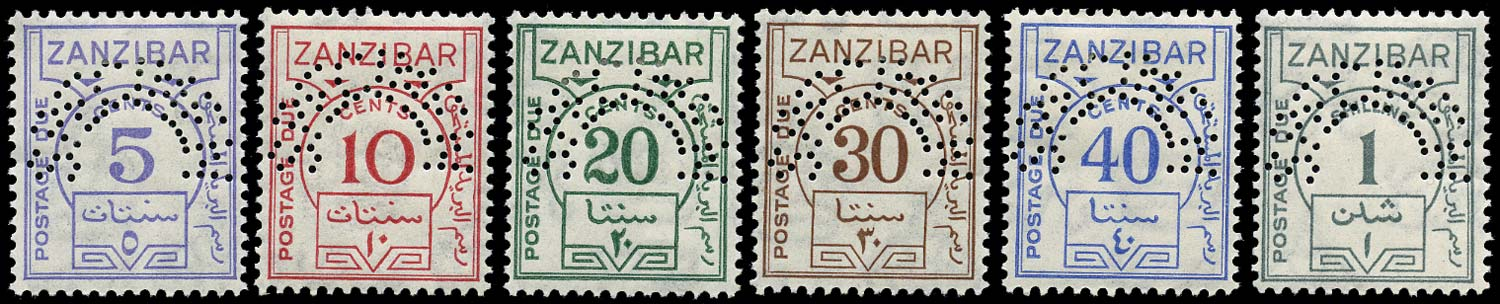 ZANZIBAR 1936  SGD25s/D30s Specimen postage due set of 6 to 1s