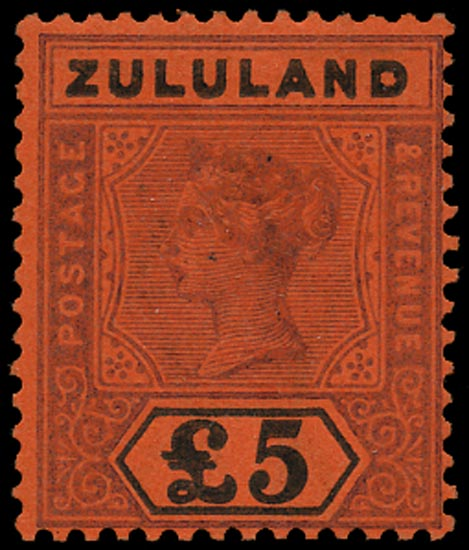 ZULULAND 1894  SG29a Mint QV £5 purple and black on red paper error ZULULAND and £5 printed double