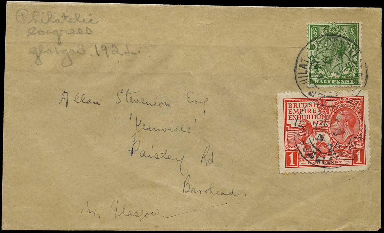 GB 1924  SG351, 430 Cover Philatelic Congress Glasgow