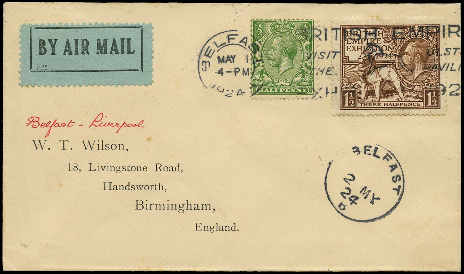 GB 1924  SG418, 431 Cover Ulster Pavilion slogan
