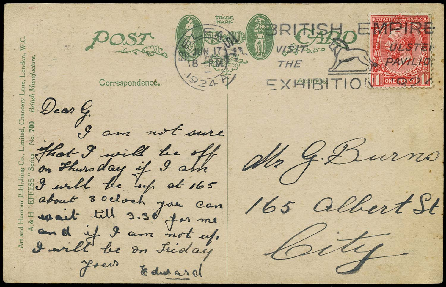 GB 1924  SG419 Cover Ulster Pavilion slogan