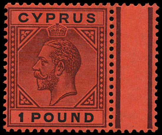 CYPRUS 1921  SG101 Mint KGV £1 purple and black on red paper