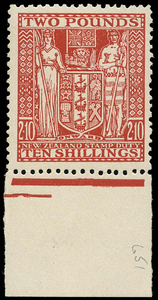 NEW ZEALAND 1940  SGF207 Postal Fiscal Arms £2 10s red unmounted