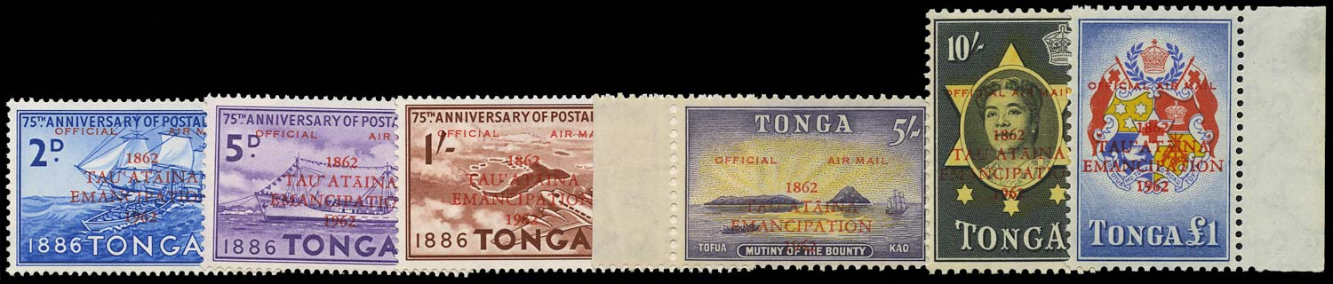 TONGA 1962  SGO11/16 Mint Emancipation airmail set unmounted with certificate
