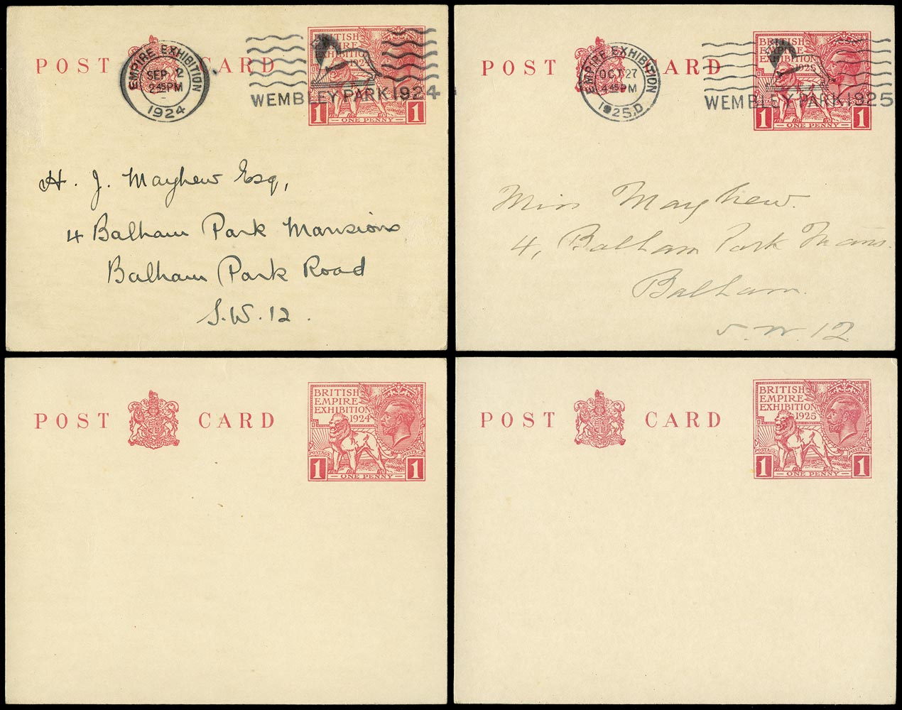 GB 1925 Postal Stationery group of four postcards