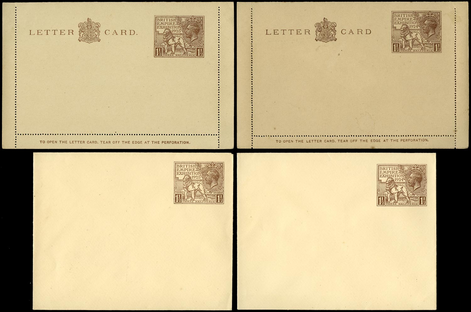 GB 1924 Postal Stationery group of four envelopes, letter cards