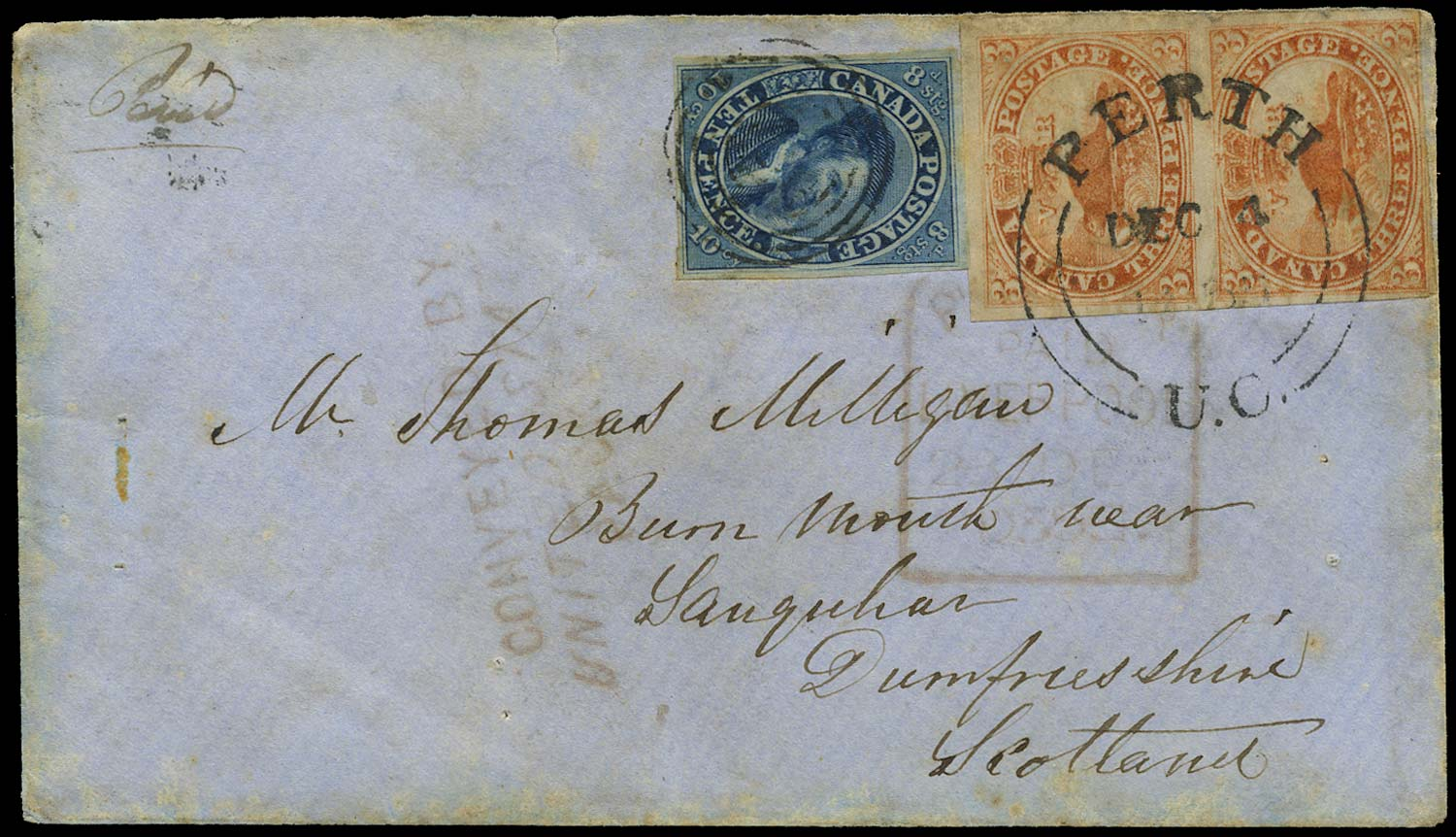 CANADA 1855  SG7, 14 Cover from Perth to Scotland at the US Packet rate of 16d