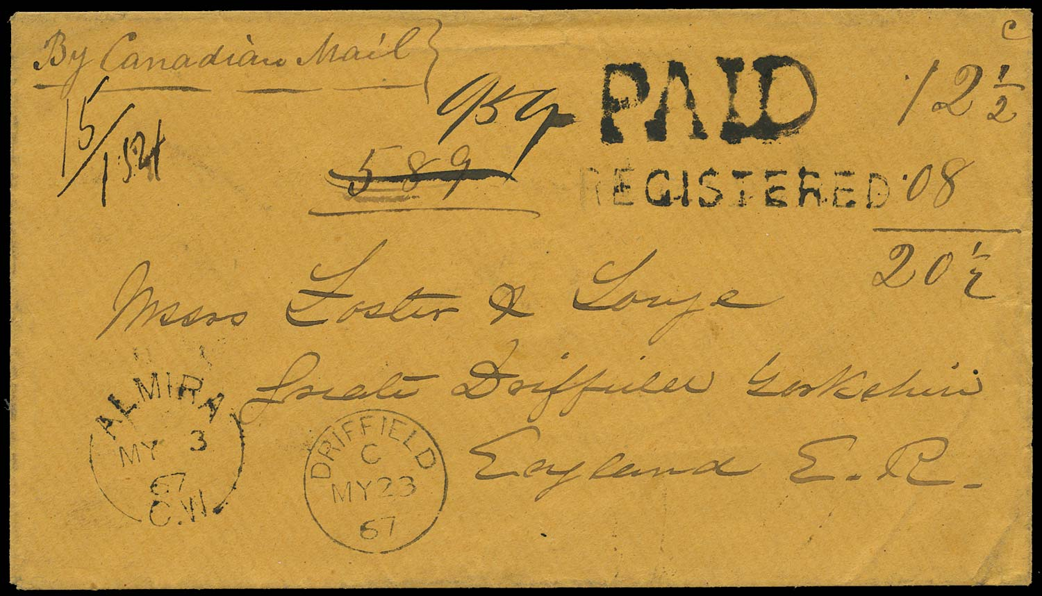 CANADA 1867 Cover registered from Almira to England 20½c rate