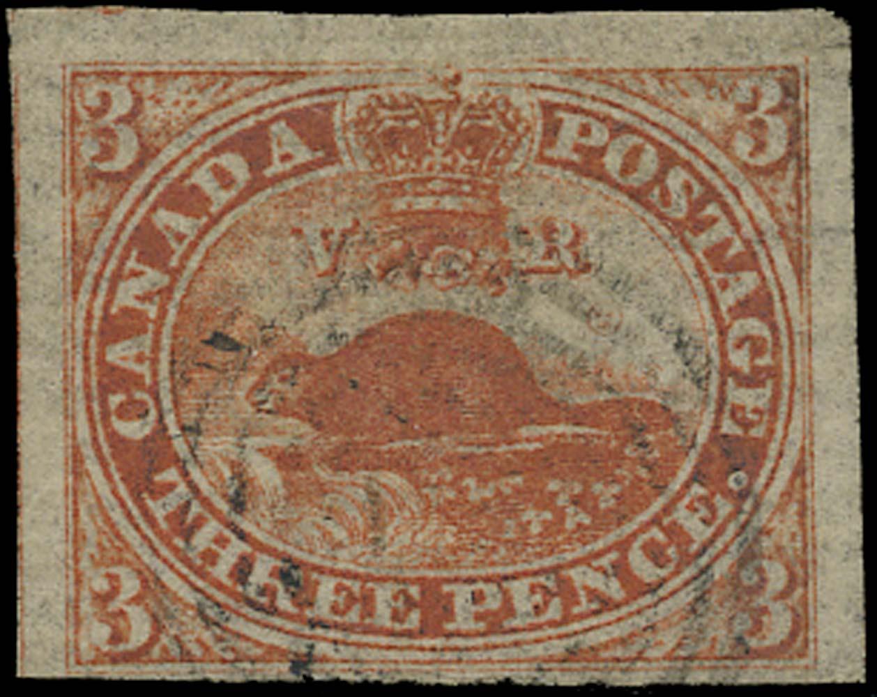 CANADA 1851  SG1a Used 3d orange-vermilion Beaver on Laid paper