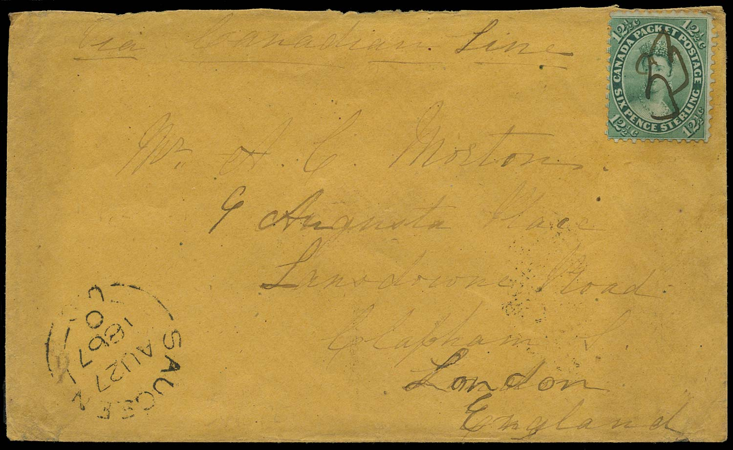 CANADA 1867  SG41 Cover from Saugeen with manuscript 33 numeral cancel