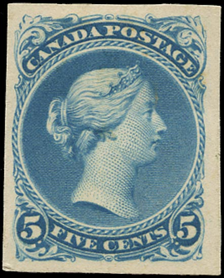 CANADA 1868  SG63 Proof of Large Queen 5c in milky blue