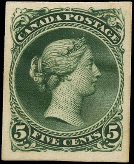 CANADA 1868  SG63 Proof of Large Queen 5c in deep green