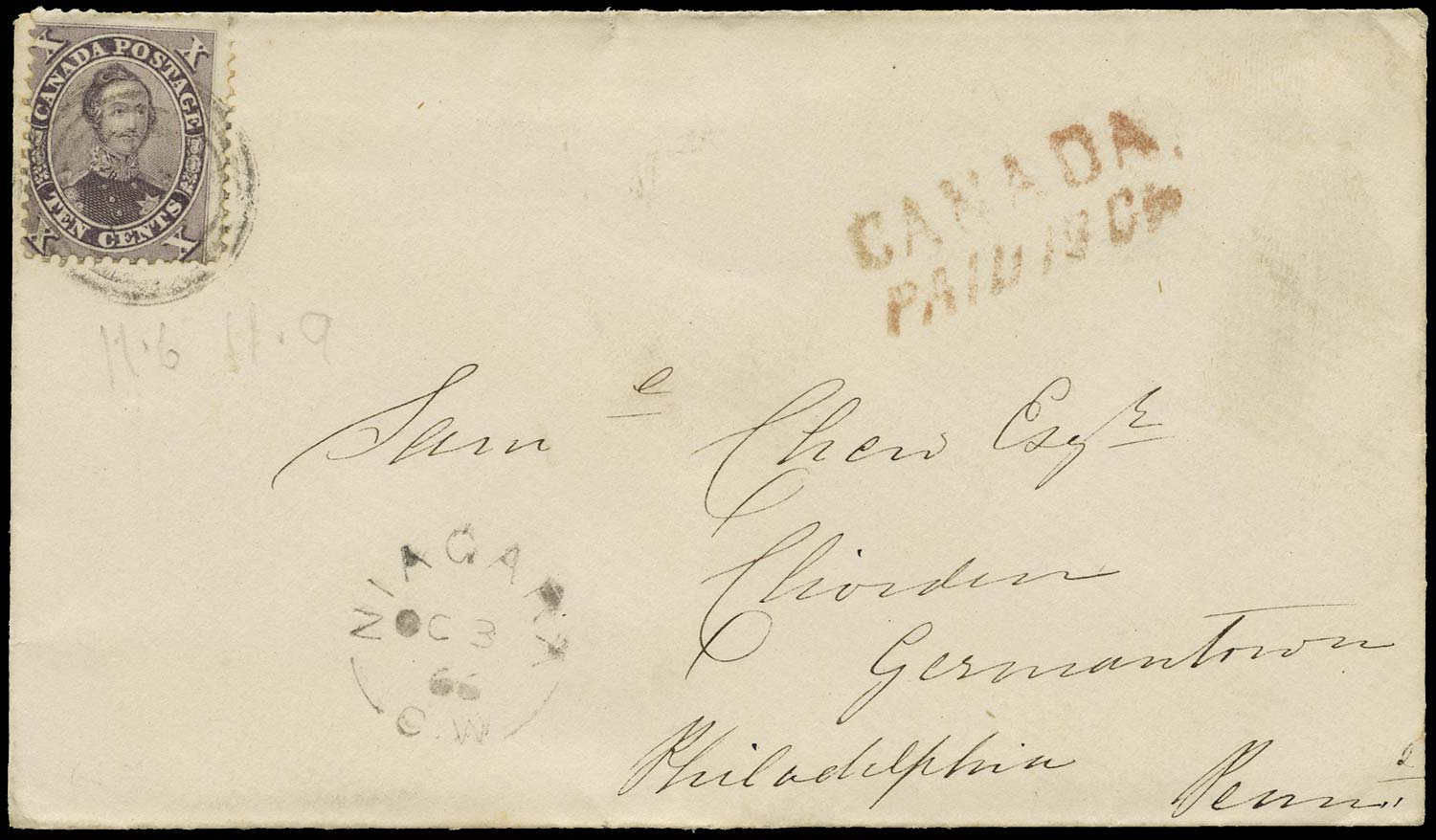 CANADA 1866  SG35 Cover from Niagara with 10c Prince Consort