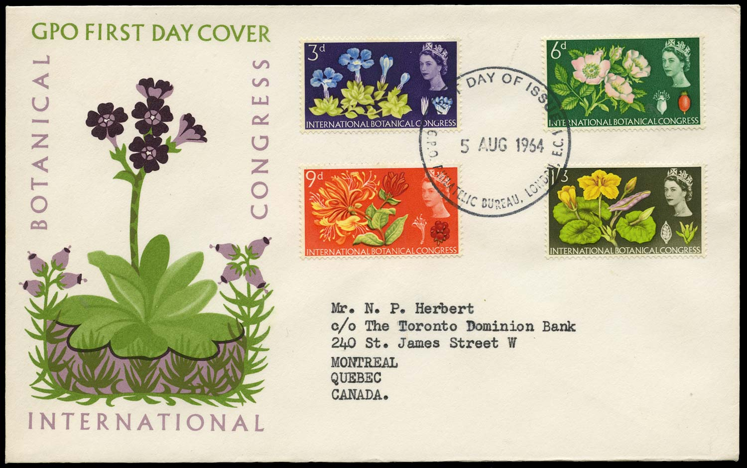 GB 1964  SG655/8p Cover - First day cover