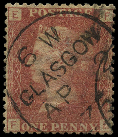 GB 1869  SG43 Pl.124 Used Glasow cds example