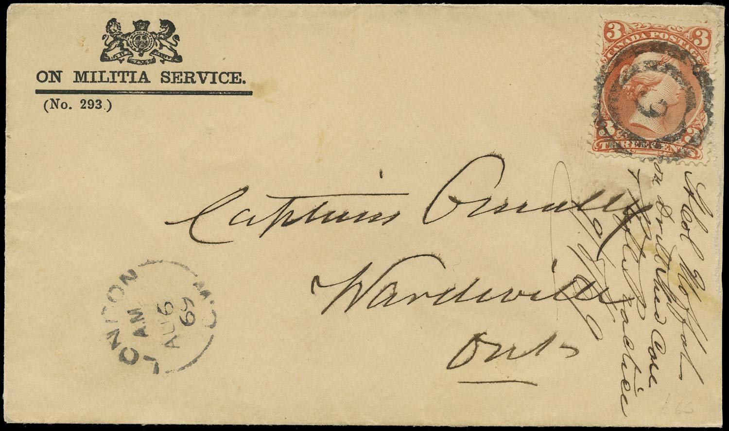 CANADA 1869  SG58 Cover On Militia Service from London to Wardsville