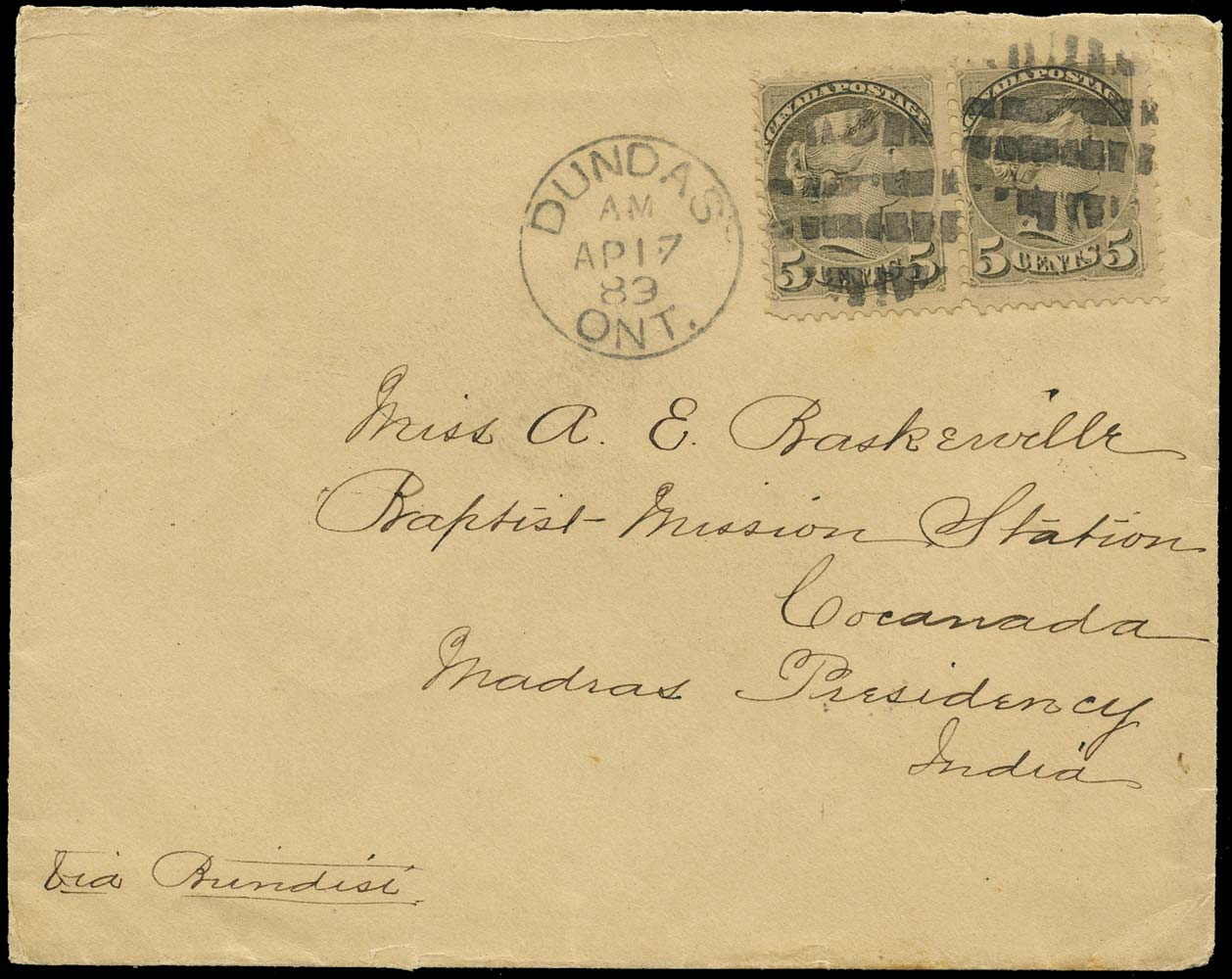 CANADA 1869  SG85 Cover from Dundas to India at 10c UPU surtax rate