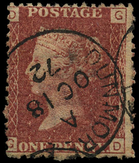 GB 1869  SG43 Pl.125 Used Dunmore cds' example
