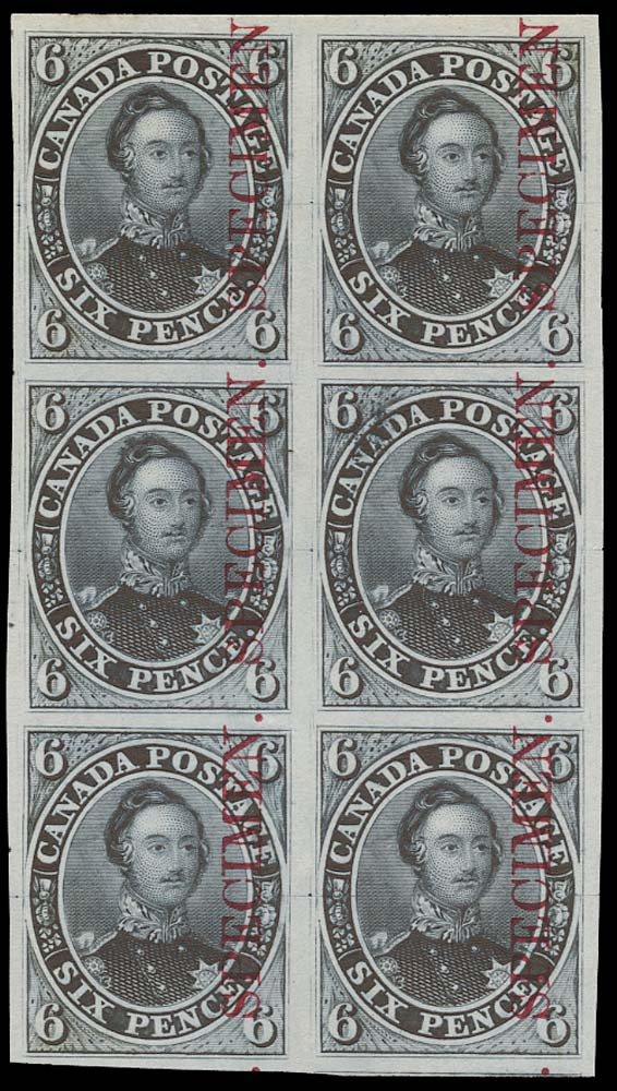 CANADA 1851  SG2 Proof 6d Prince Albert in blue-grey overprint Specimen